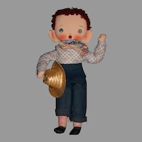 """18"""" cloth doll """"Tex"""" Cowboy musical 1950's"""