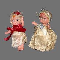 "A Pair of cute 5"" flirty celluloid dolls 1920-30's"