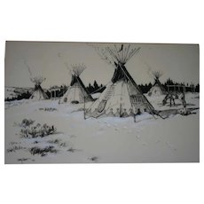 Charcoal & Pastel Original Native American scene by Lanny Grant 1972