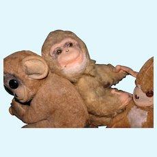 3 Vintage Charming little plush Monkeys
