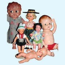 Hard Plastic Celluloid small dolls Japan Germany
