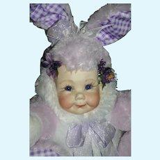 LG adorable artist bisque head plush Bunny