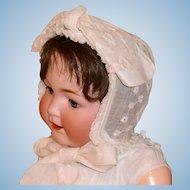 Antique Embroidered Cream Color Linen Baby Bonnet