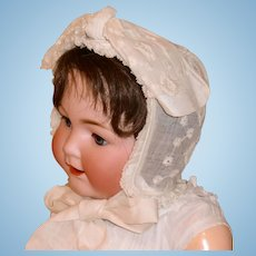 Antique Embroidered Cream Color Linen Baby Bonnet
