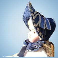 Civil War Blue Velvet Bonnet