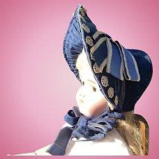 Civil War Blue Velvet Bonnet