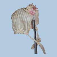Antique Smaller Doll's Baby Bonnet Ivory Silk Pintucks