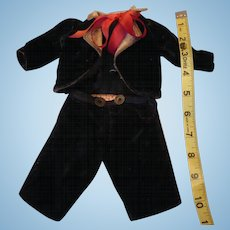 Antique Black Velvet 2 Piece Suit for Boy Doll