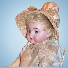Vintage Ecru Satin Poke Bonnet with Hand Quilting