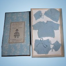 Antique Doll Clothes Presentation Box and Knits from Au Bon Marche