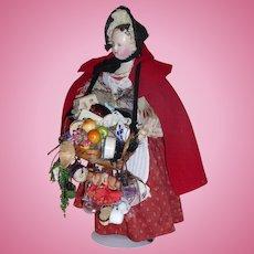 Antique 15 inch Papier Mache Peddler Doll