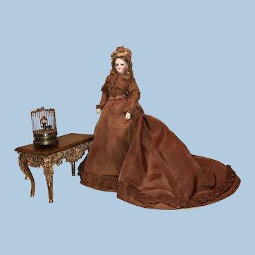 Exquisite  Bru Smiler 17 inches in Silk Trained Dress