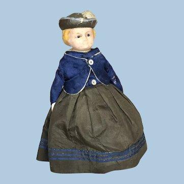 English Wax Bonnet Head Doll