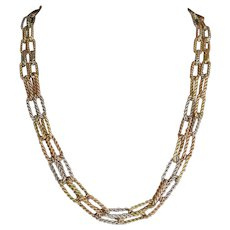 RETRO Gold Necklace, 18k Tri-Color Gold in Double Strand with Textured Link .......54.4 Grams.
