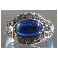 """EXQUISITE Art Deco Ring in 900 Platinum Natural Sapphire & Diamond.  Signed, """"GRANAT""""."""