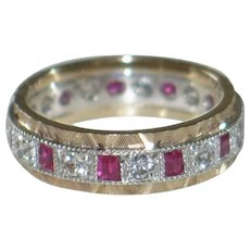 Antique Eternity Band/Ring in Platinum &9ct Gold, Rubies and White Beryl Gemstone.  English.