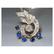 Vintage 14k Yellow Gold, Old-European cut Diamond, and Sapphire Pendant.  2 carats plus.