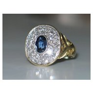 Platinum &18k Yellow Gold Vintage Ring with Diamonds and Sapphire.