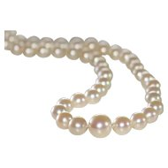Vintage Graduated Pearls Necklace in 14k white gold clasp with diamonds.
