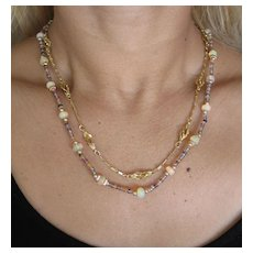 Fancy link 18k Yellow Gold Vintage Necklace.