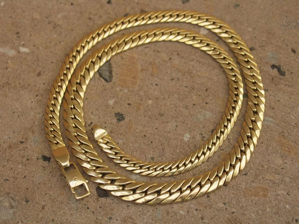 Omega style Necklace in 14k Yellow Gold Vintage Italian