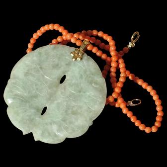 Vintage Carved Jade pendant Fish motif 14k yellow gold.