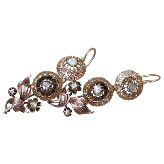 Antique Georgian Diamonds and Rose gold Earrings.
