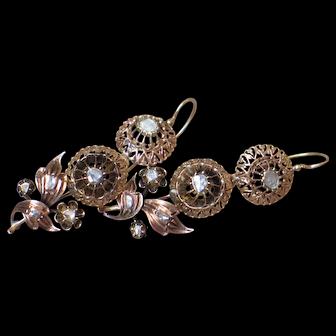 Antique Georgian Diamonds and Rose gold Earrings.
