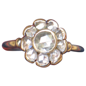 Antique Holland rose-cut Diamond Ring.  Flower top, 14ky gold engagement ring.  Rare.  One carat.