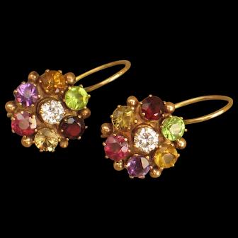Antique Georgian Multicolor gemstone flower earrings.