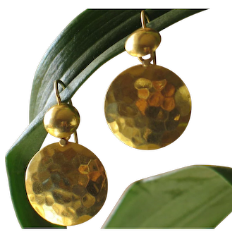 Vintage 18k yellow gold-disc pierced earrings.