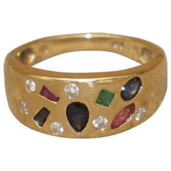 Sale 20%-50% OFF---Multicoloured Natural Gemstones 14k Gold Vintage Ring.
