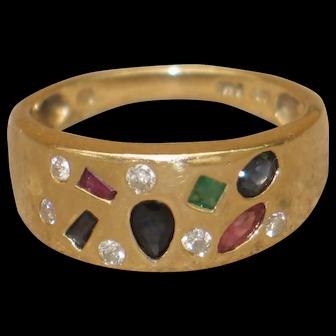 Multicoloured Natural Gemstones 14k Gold Vintage Ring.