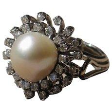 Exquisite Platinum diamond pearl cocktail ring.....A statement piece!