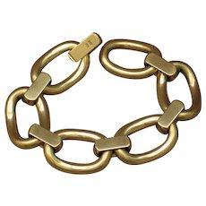 18k vintage Italian gold bracelet.  Massive, large, and wide links!