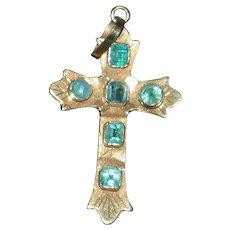 Beautiful vintage Emerald Cross in 18k Yellow Gold.