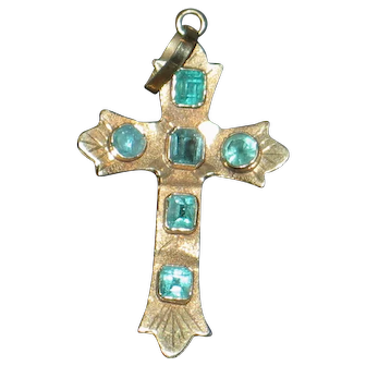 Emerald Cross 18k Vintage cross.  *SALE 50% OFF on most items*