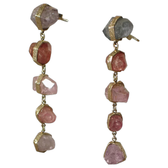 Beautiful Estate Natural Topaz Rock 18k Gold Earrings.