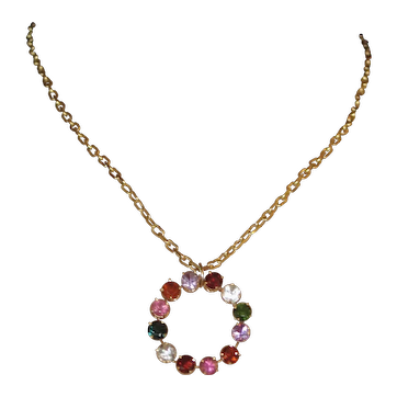 Multicolor Natural Gemstones 14k Gold Vintage Pendant and 14ky Chain.