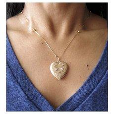 Heart Locket/Pendant with Diamonds Platinum and 14k Gold.  Antique Victorian Heart Pendant.
