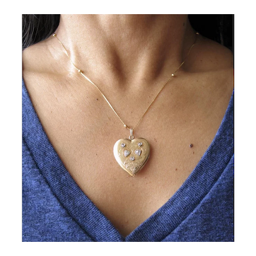 Heart Locket/Pendant with Diamonds Platinum and 14k Gold.  Antique Victorian Heart Pendant.
