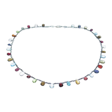Gemstone and Antique cut steel bead Necklace.
