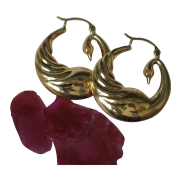 Golden Swan 18k Yellow Gold Earrings.