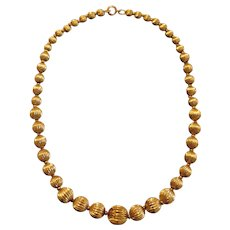 Vintage Gold Bead Ball Necklace 14k Yellow Gold.  Graduated beads necklace.