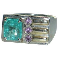 Gentlemen's Emerald Ring.  Custom Vintage Large Natural Columbian Emerald Pink Sapphire.