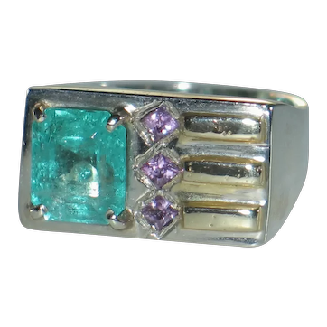 Gentlemen's Emerald Ring.  Custom Vintage Large Natural Columbian Emerald Pink Sapphire.
