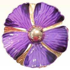 Vintage double layered metal flower pin: purple and gold