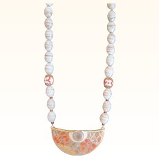 Vintage murano white and gold tone glass beaded pendant necklace
