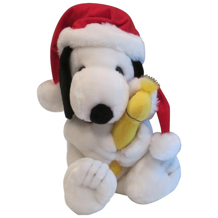 vintage snoopy and woodstock in christmas stocking hats - Snoopy Christmas Stocking