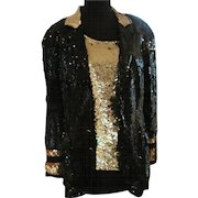 Vintage MOD black and gold sequined cocktail jacket and tank top Michael Jackson Halloween costume